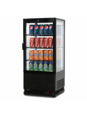 CT0080G4B Flat Glass 78L LED Countertop Beverage Chiller