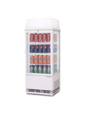 CT0080G4LW Flat Glass 78L LED with Lightbox Countertop Beverage Chiller