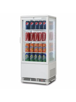 CT0080G4W Flat Glass 78L LED Countertop Beverage Chiller