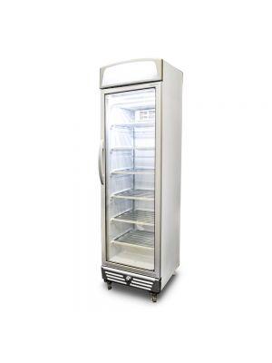 UF0374LS LED Flat Glass Door 300L Upright Display Freezer with Lightbox