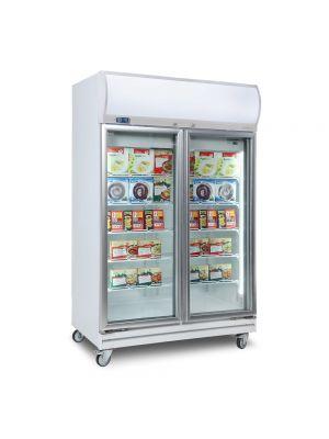 UF1000LF Flat Glass Door 976L LED Upright Display Freezer