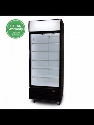 GM0660LB LED ECO Flat Glass Door 660L Upright Display Chiller with Lighbox (Black)